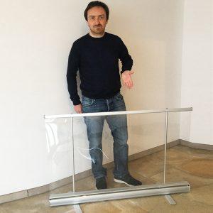 preventiescherm - transparante scheidingswand ViewRoll op ongeveer 140 cm hoogte