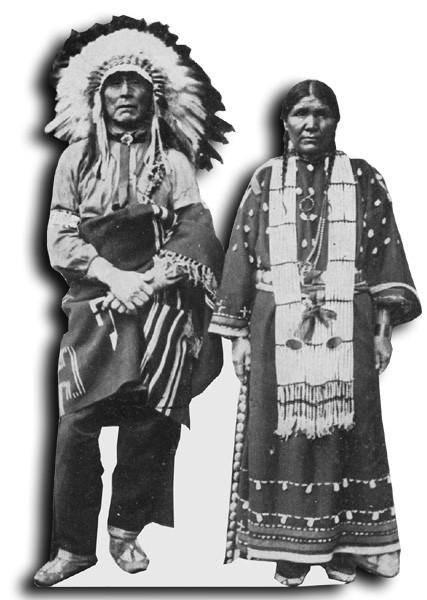 levensgrote foto of standee gemaakt van archief foto indianen sioux koppel