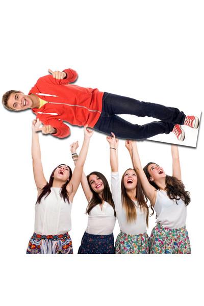 levensgrote kartonnen pop - jongeman feest
