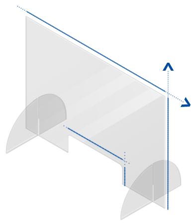 plexi scherm voor toonbank of bureau op maat gemaakt, zonder of met aangepast doorgeefluik