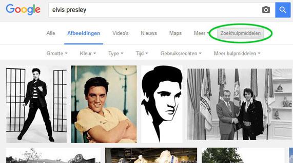 hoge resolutie beelden zoeken op internet - opties google