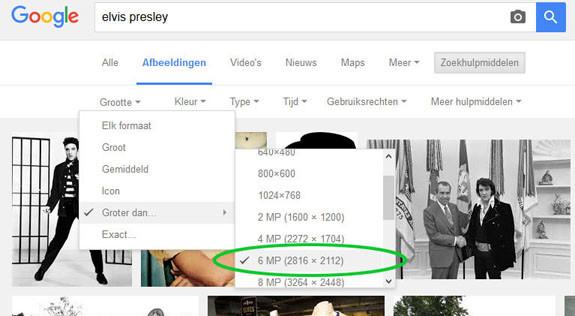 hoge resolutie beelden zoeken op internet - resolutie kiezen