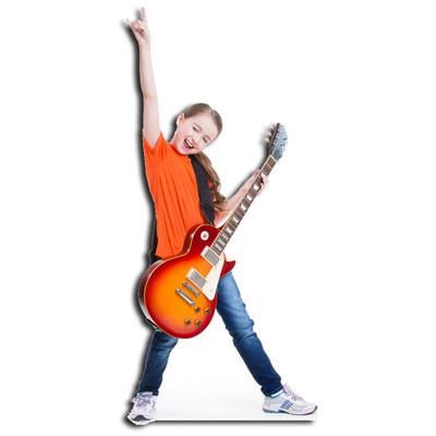 fille avec guitare silhouette découpée