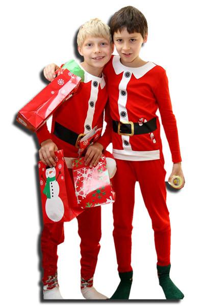 levensgrote pop of lifesizer van twee kinderen in kerstpak
