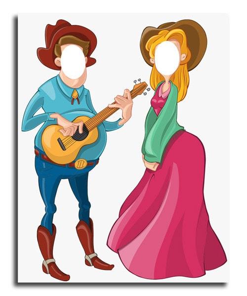 levensgrote pop standin van twee western cowboy figuren